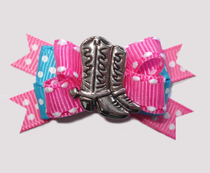 #BTQM810 - Mini Boutique Bow Country/Western Boots, Pink/Blue