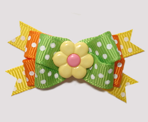 #BTQM838 - Mini Boutique Bow Spring Daisy Dots, Green/Yellow