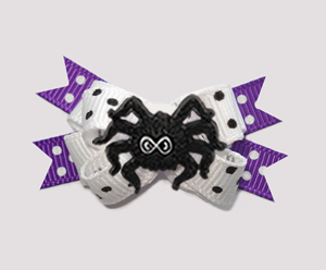 #BTQM840 -Mini Boutique Bow Cute Little Creepy Spider, Purple