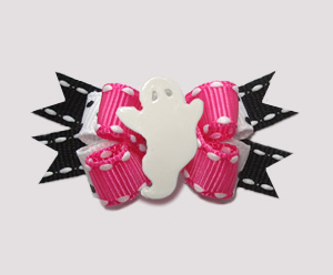 #BTQM842 - Mini Boutique Bow Groovy Girl Ghost, Pink/Black