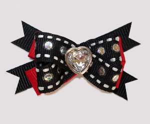 #BTQM852 - Mini Boutique Bow Bling It Up, Black/Red w/Heart