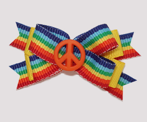 #BTQM853 - Mini Boutique Bow Bright Rainbow Stripes, Peace