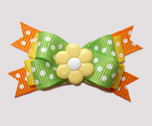 #BTQM854 - Mini Boutique Bow Daisy Dots, Green/Yellow/Orange