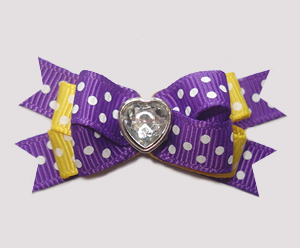 #BTQM862- Mini Boutique Dog Bow Purple Sweetheart Dots, Heart