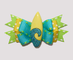 #BTQM870- Mini Boutique Bow Catch the Wave, Glitter Surfboard