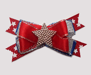 #BTQM880 - Mini Boutique Bow Red/White/Blue w/Sparkle, Star