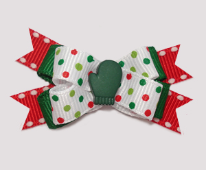 #BTQM885 - Mini Boutique Dog Bow Festive Dots, Green Mitten