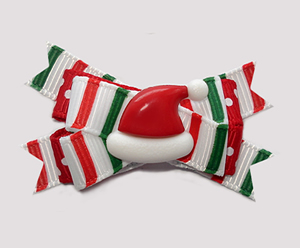 #BTQM886- Mini Boutique Dog Bow Candy Cane Stripes, Santa Hat