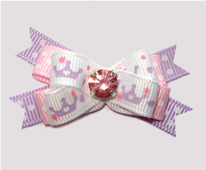 #BTQM888 - Mini Boutique Bow Princess Crowns, Pink Rhinestone