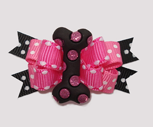 #BTQM890- Mini Boutique Bow Bling It On, Pink Rhinestone Bone