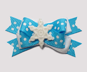 #BTQM896 - Mini Boutique Bow Let It Snow, Sprinkle Dots, Blue