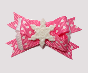 #BTQM897 - Mini Boutique Bow Let It Snow, Sprinkle Dots, Pink
