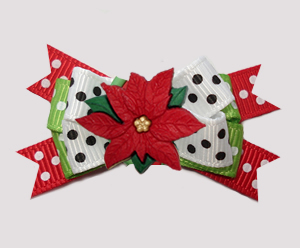 #BTQM898 - Mini Boutique Dog Bow Perfectly Festive Poinsettia