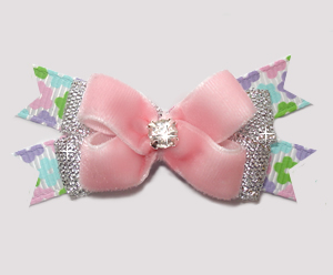 #BTQM903- Mini Boutique Bow Perfect Pink Velvet/Silver/Floral