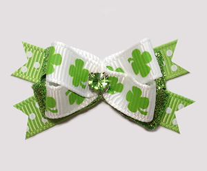 #BTQM904 - Mini Boutique Bow Lucky Shamrocks w/Glitter & Dots