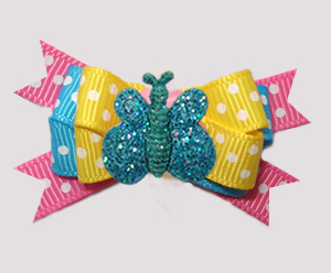 #BTQM916 - Mini Boutique Bow Pop of Colors, Glitter Butterfly