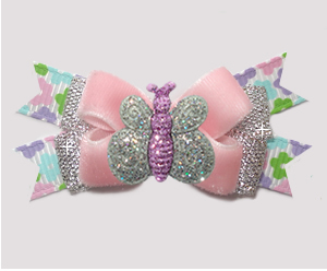 #BTQM918 - Mini Boutique Bow Pink Velvet, Glitter Butterfly