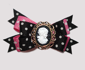 #BTQM921 Mini Boutique Bow Delightful Dots, Pink/Black, Cameo