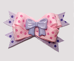 #BTQM926 - Mini Boutique Bow Pretty Bow, Pink/Lavender Dots