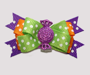#BTQM927 - Mini Boutique Bow Happy Dots, Purple Glitter Candy