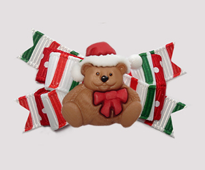 #BTQM929 - Mini Boutique Bow Candy Cane Stripes, Xmas Teddy