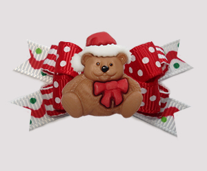 #BTQM930 - Mini Boutique Bow Sprinkle Dots w/Christmas Teddy