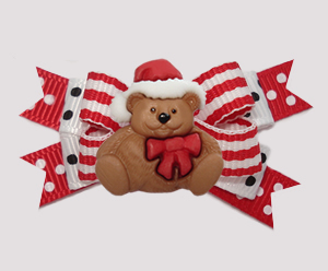 #BTQM932- Mini Boutique Bow Holiday Stripes, Christmas Teddy