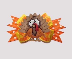 #BTQM936- Mini Boutique Bow Autumn Plaid, Thanksgiving Turkey
