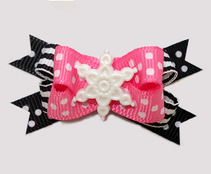 #BTQM941 - Mini Boutique Bow Pink/Black, Dots & Stripes, Snow