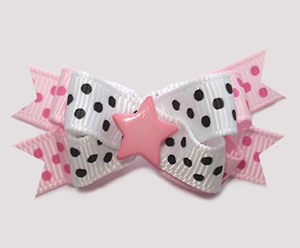 #BTQM943- Mini Boutique Bow My Little Star, Pink/Black/White