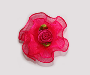 #BCLPBLM15 - Dog Hair Clip - Organza Bloom, Hot Pink