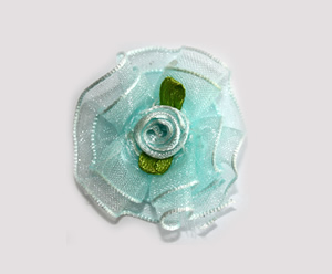 #BCLPBLM17 - Dog Hair Clip - Organza Bloom, Baby Blue