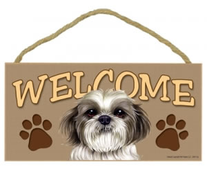 Wood Welcome Sign - Shih Tzu