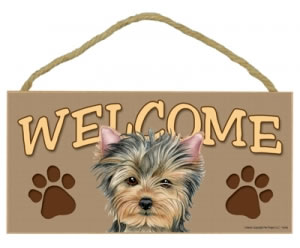 Wood Welcome Sign - Yorkie