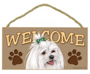 Wood Welcome Sign - Maltese with Bow