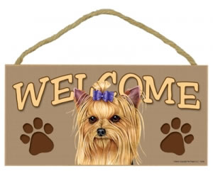 Wood Welcome Sign - Yorkie with Bow