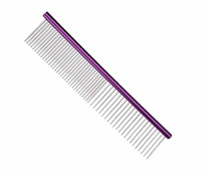#G1975 - Durable, Stainless Steel Combination Comb, Purple