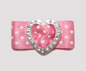 "#HRT0040 - 5/8"" Dog Barrette - Gem of My Heart, Sweet Pink Satin"