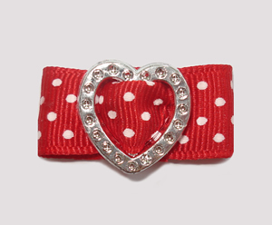 "#HRT0150 - 5/8"" Dog Barrette - Gem of My Heart, Red Swiss Dots"