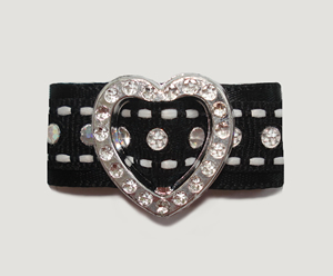 "#HRT0154 - 5/8"" Dog Barrette - Gem of My Heart, Black Sequins"