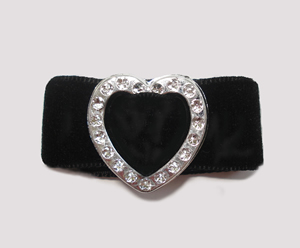 "#HRT0156 - 5/8"" Dog Barrette - Gem of My Heart, Midnight Velvet"