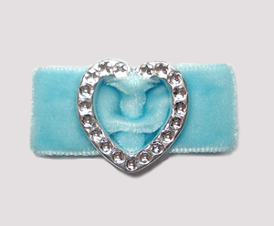 "#HRT0158- 5/8"" Dog Barrette- Gem of My Heart, Powder Blue Velvet"