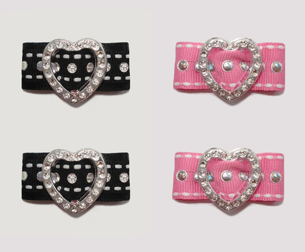 "#HRT0050G - 5/8"" Dog Barrette - Gem of My Heart, Sequins x 4"
