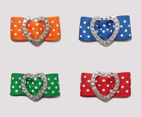 "#HRT0051G - 5/8"" Dog Barrette - Gem of My Heart, Swiss Dots x 4"