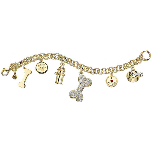 #J5002 - Gold Plated Bracelet with Austrian Crystal Dog Bone