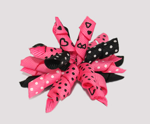 #KRK520 - Korker Dog Bow - Sizzlin' Hot Pink Hearts