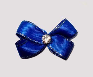 #PBTQ500 - Petite Boutique Dog Bow - Regal Blue w/Silver