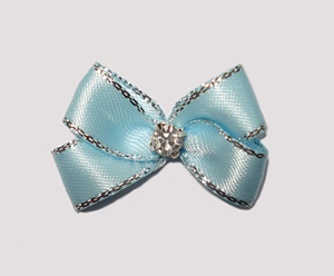#PBTQ520 - Petite Boutique Bow - Ice Blue w/ Silver Edge