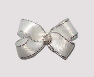 #PBTQ530 Petite Boutique Bow- Angelic White w/ Silver Edge