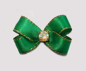 #PBTQ562 Petite Boutique Bow Emerald Green w/ Gold Edge